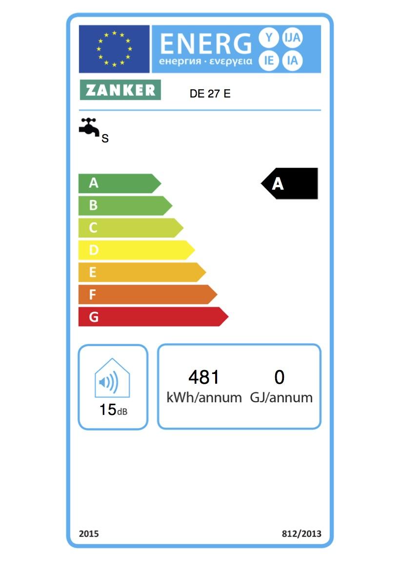 Zanker Durchlauferhitzer elektronisch geregelt DE 27 E